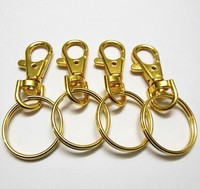 Shiny gold dog buckle snap hook plain metal key rings for lanyard clip