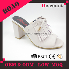 New fashion ladies cool tassel leather high heel flat formal sandal women shoes
