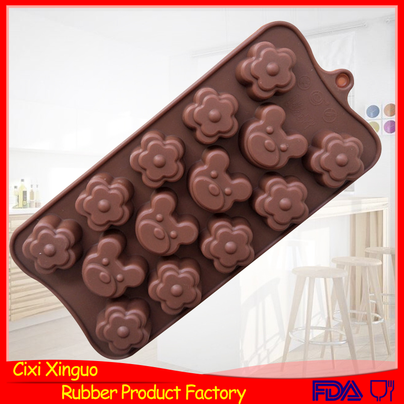 14 holes flower shape bear shape silcone chocolate mold