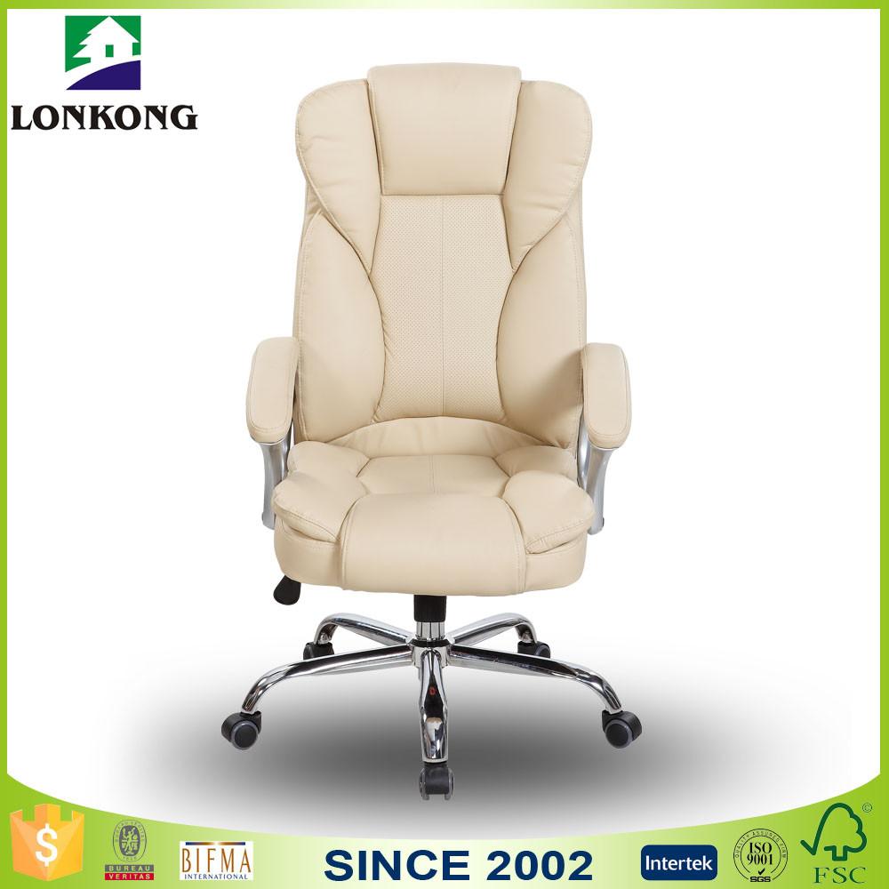High Back Swivel Tilt Mechanism White Leather Office Chair