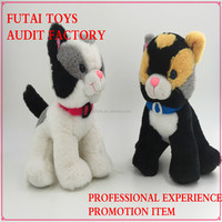 ICTI FACTORY Futai toys white and black plush Cat toys with red ribbon