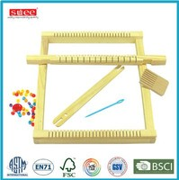 Children pretend play Small wooden weaving loom toys