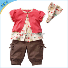 3 Pcs Unique Baby Girls Clothing Fruits Pattern Cotton Printed Top+Pants+Hat Set Outfits 0-3 Years Summer Girls Clothes