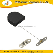 Retractable retail security cable, small mechanical recoilers tethering display devices