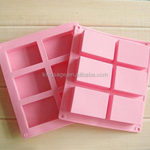 Christmas promotional 6 Cavities Rectangular Muffin Cake Pan Soap Chocolate Silicone Mold