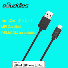 2016 MFI Certified Cable 4ft/1M USB 2.0 8pin 5V 2.4A C48 Chip TPE USB Data Cable for iphone 6 5 7