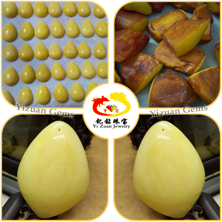Yizuan jewelry Pressed amber concave fancy shape recreated amber