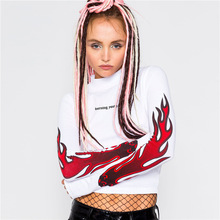 Europe and the explosion of the autumn / winter 2017 new women's flame red stripes letter navel short sleeved turtleneck sweater