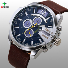 NORTH High Quality Luxury Waterproof Genuine Leather Strap Japan Quartz Movt Sport Watches Men