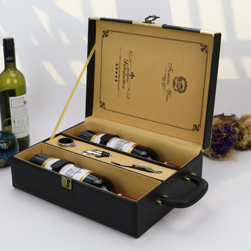suitcase handle custom luxury mdf wood pu leather gift 2 bottle set gift wine box factory price