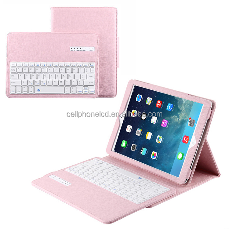Leather Case Wireless Keyboard Case with Removable Wireless Keyboard, Folio Protection & Built-in Tablet Stand for iPad