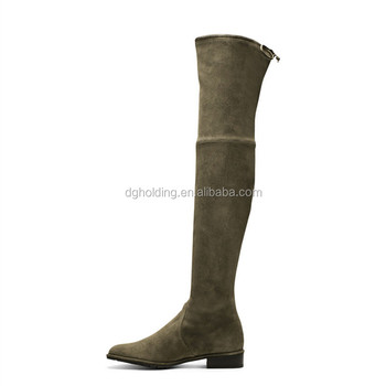 Ladies Womens Genuine Leather shoes over knee long flat Boots