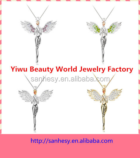 flying angel girl with crystal wings pendant costume jewelry