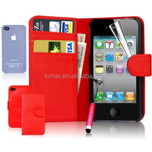 Wallet PU Leather Mobile Phone Case Cover For Apple iPhone 5 5S With Screen Protector