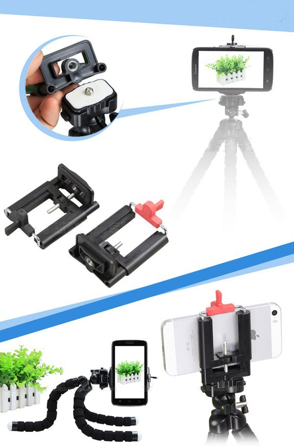 "2 Sides Adjustable U style Mobile Phone Clip Mount Holder 50-100mm Extendable 1/4"" Screw Universal Monopod Tripod Phone Bracket"