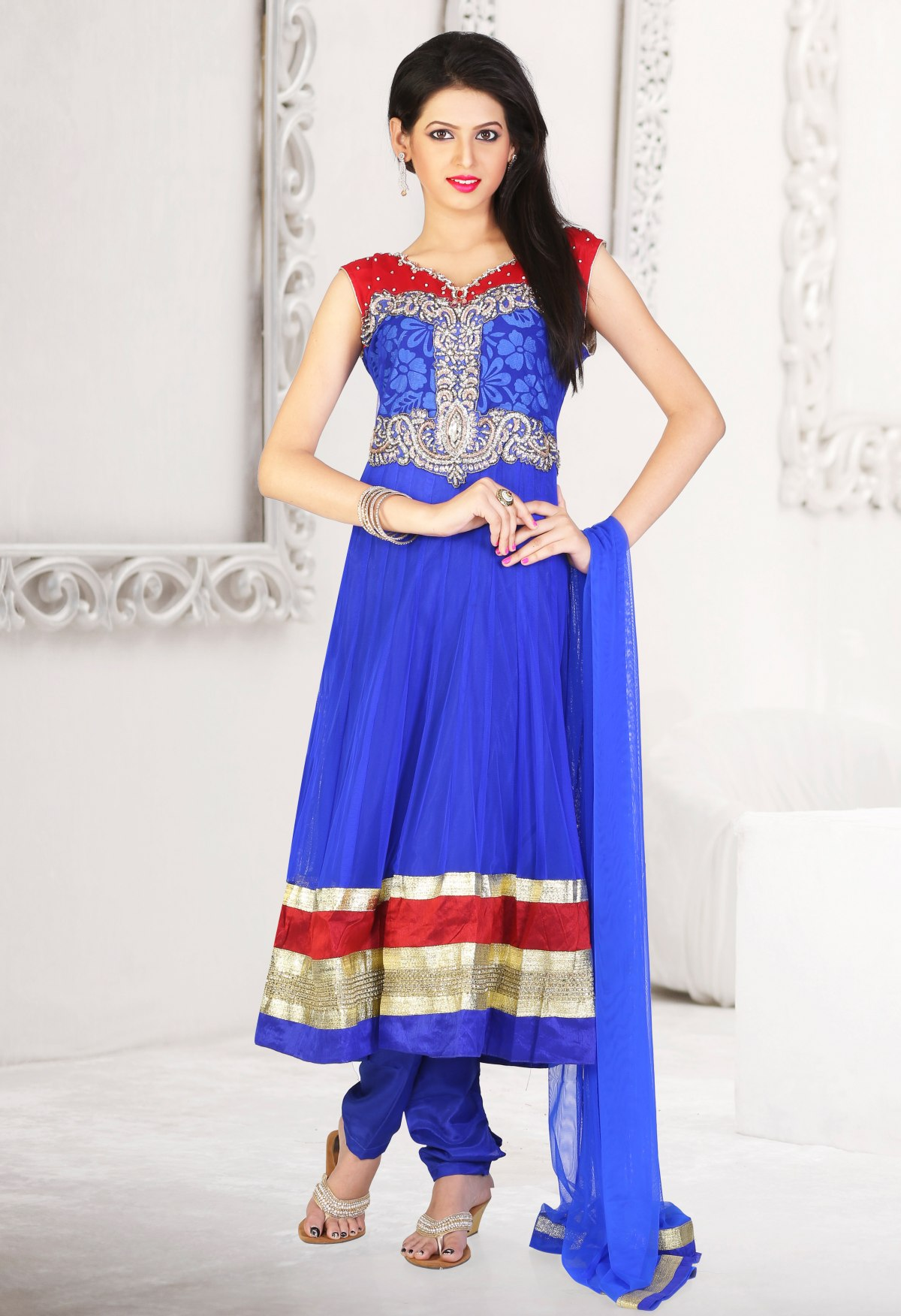 Triveni Evoking Net Stone Worked Readymade Suit 396436
