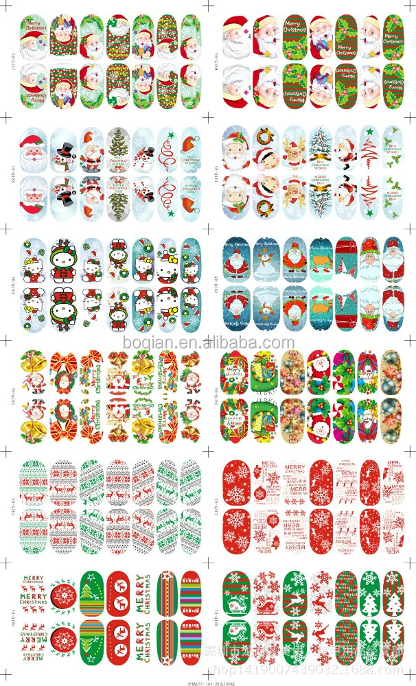 2016 New Design Happy Merry 3D DIY Christmas Beauty Nail Art Sticker Packing