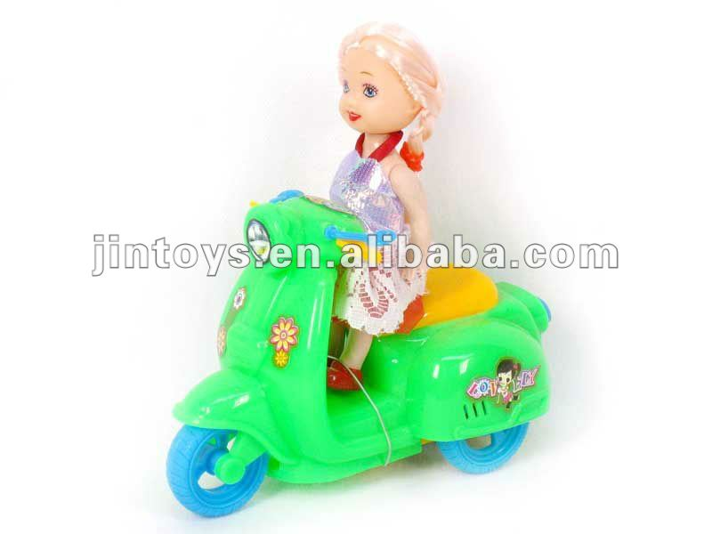 Pull Line Motorcycle with little doll,3 color