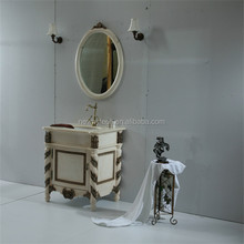 Antique style floor standing wood bathroom vanity with mirror