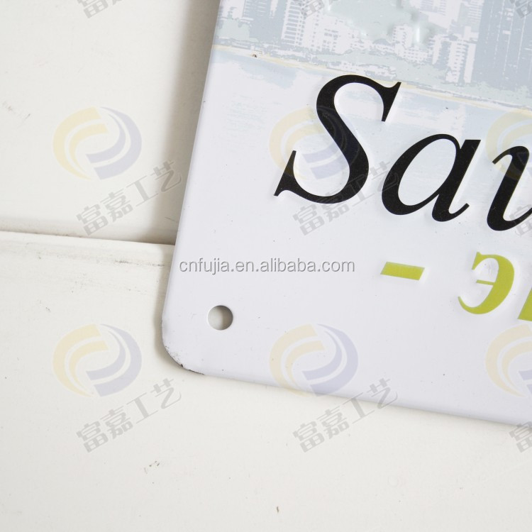 wholesale custom embossed metal wall sign tin plates for home decoration