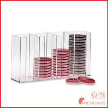 4-Place Clear Acrylic Multi-Place Media Dish Holder, Available in 7, 4, 2, or single-place models