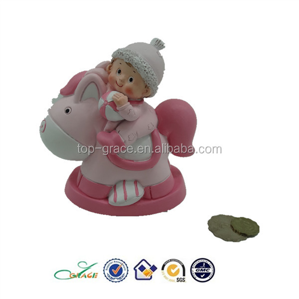HOT SELLING resin baby on rock horse money box