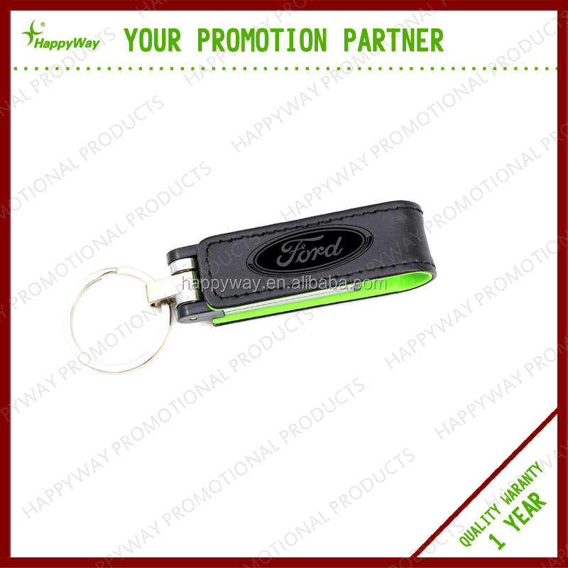 Custom Leather USB Flash Drive With Ring, MOQ 100 PCS 0502003 One Year Quality Warranty