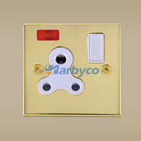 SCN1501PB--Single Pole 15 Amp 1 Gang SA India Style Gold Wall Switch Socket with Neon 3 Round Pins for SA India Nigeria