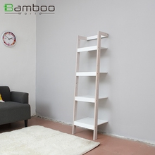 Hot sale office free stand single shelf , bamboo furniture white book rack design