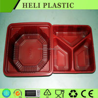 High transparency disposable plastic bento/lunch box with three compartment
