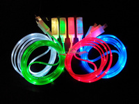 LED Luminous Flat USB Cable For iphone 5 5s 6 6s 1m/3ft Smart Phone Charging Charger Line