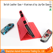 2017 New Arrival Leather Shockproof Wallet Case for Nintendo Switch with 2 Lightweight Aluminum alloy Joy-Con Case