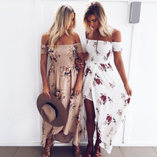 Summer Beach Women Long Dress Boho Style Off Shoulder Cut Out Floral Printed Women Maxi Dress Vestido
