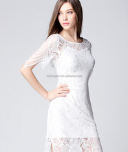 casual lace short white round collar dress
