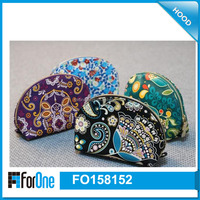 semi round cosmetic bag, PU cosmetic bag make up bag with printing flower
