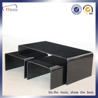 Tempered Bent Glass With Painting Coffee Table Set