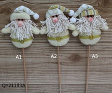 Santa with Stick Silver Christmas Ornaments Craft