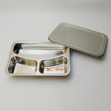 Factory Stainless steel recyclable lunch boxes trays 3 compartment bento box