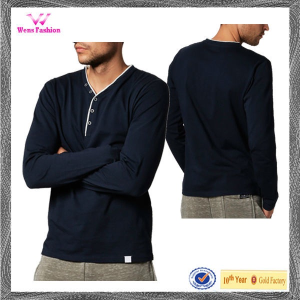 Men's Wholesale Custom Henley Men's Long Sleeve Henley Shirt
