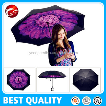 Inverted Rain Umbrella, Folding with C-shaped Hands, for Travelling and Car Use