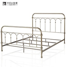 wholesale elegant wrought modern metal craft single bed for crib raised upholstered bed