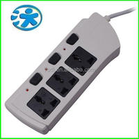 Vertical 3 gang universal receptacle/extension plug socket/individual switch socket