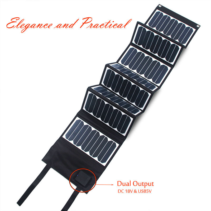 SunPower solar panel High Effi.! 60W 18v DC&5v USB portable & foldable solar charger for laptop, car battery, phones