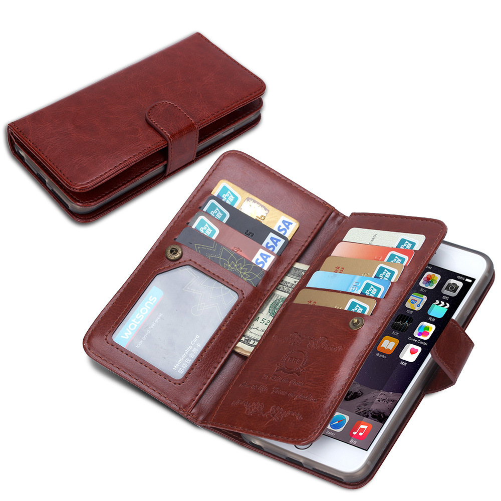 pu leather 9 card slot wallet case for iphone 6s