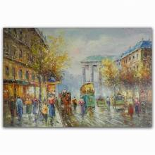 Hot sale diy photo realistic abstract busy street scenery oil painting pictures