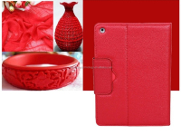 New fashion portable folding stand bluetooth keyboard PU leather Red case for Ipad Air