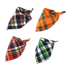 Personalized Plaid Soft 100% Cotton Printed custom logo Triangle Pet Dog Bandana