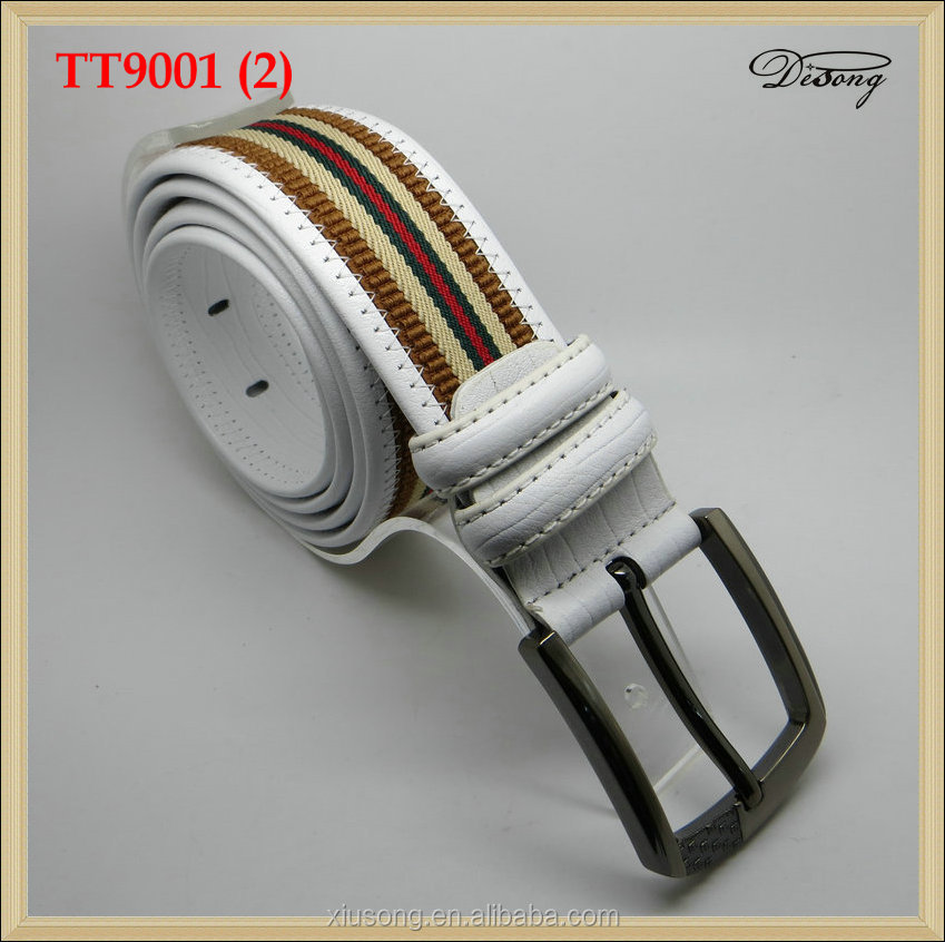 Hot sale white leather <strong>belt</strong> with fabric needlepoint <strong>belt</strong> for fashion men