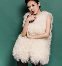 2017 Stylish Top Mongolian lamb fur women wholesale fleece vest fur vest from china