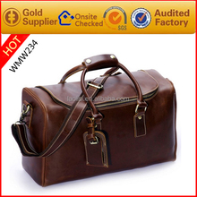 Hot selling fashion vintage leather carry on bag mens leather weekend bag